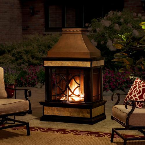 sunjoy black steel outdoor wood-burning fireplace